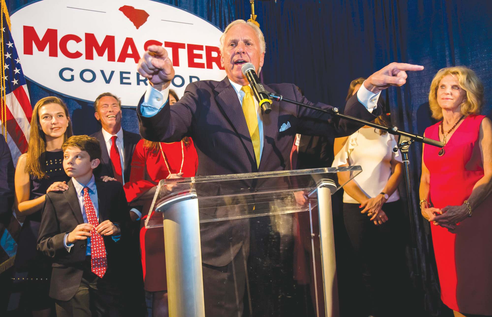 South Carolina Gov. Henry McMaster speaks at his election night party at Vista Union Tuesday, June 12, 2018 in Columbia, S.C. McMaster was forced into a runoff for the Republican gubernatorial nomination. He  was the top vote-getter in primary voting but failed to win the 50 percent necessary to avoid a runoff. He and Greenville businessman John Warren will face off in a second contest on June 26. (Jeff Blake/The State via AP)