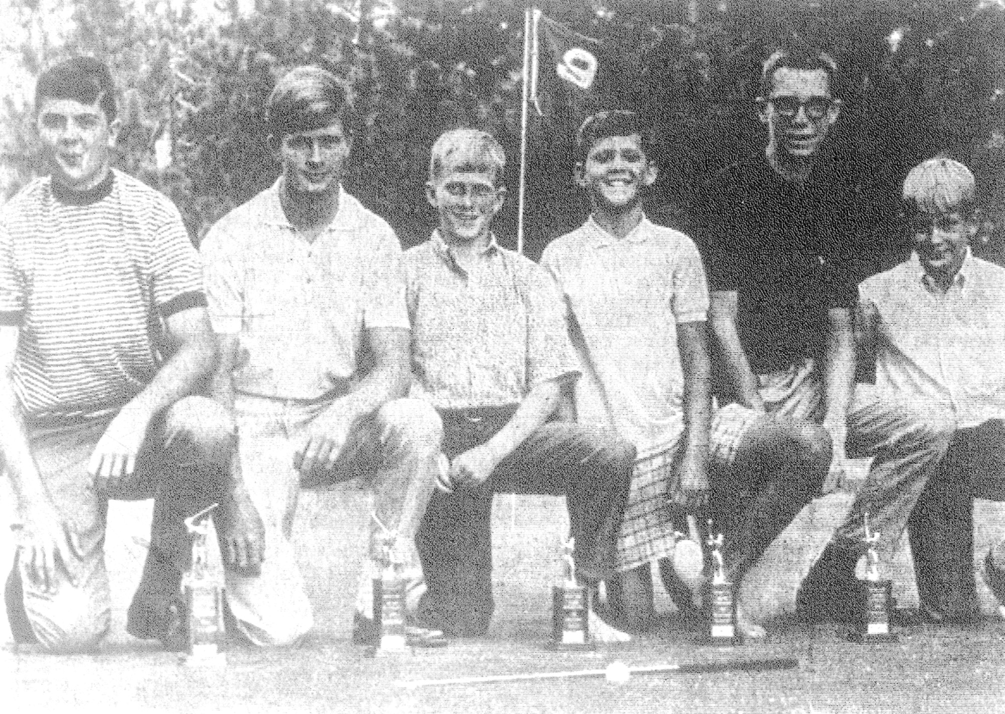 Flight winners of the Junior Golf Championship Tournament held at Sunset Country Club in September 1968 were, from left, Scotty Broome, Ed Bell, Jay Richardson, John Broome, Harvin Bullock and Dave Colquitt Jr.