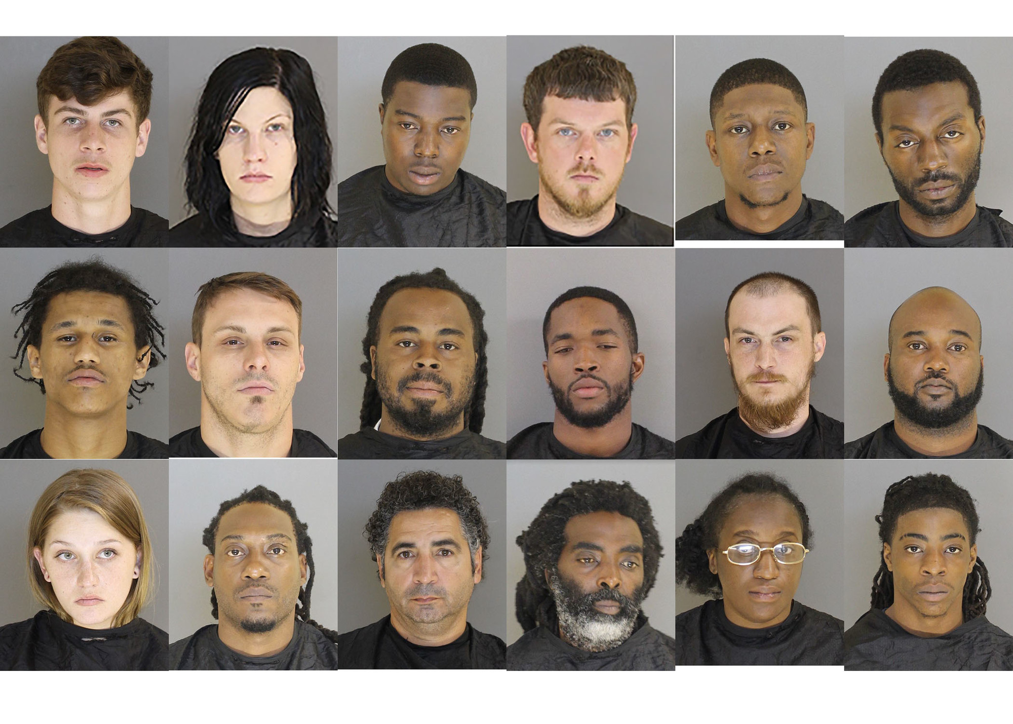 Top row, left to right: Clayton Michael Allen, Mariska Morgan Baker, Sheldon Levern Banjamin , Corey Lake Butler, Stanley Irvin Clark Jr. and Gino Walter Curry.
