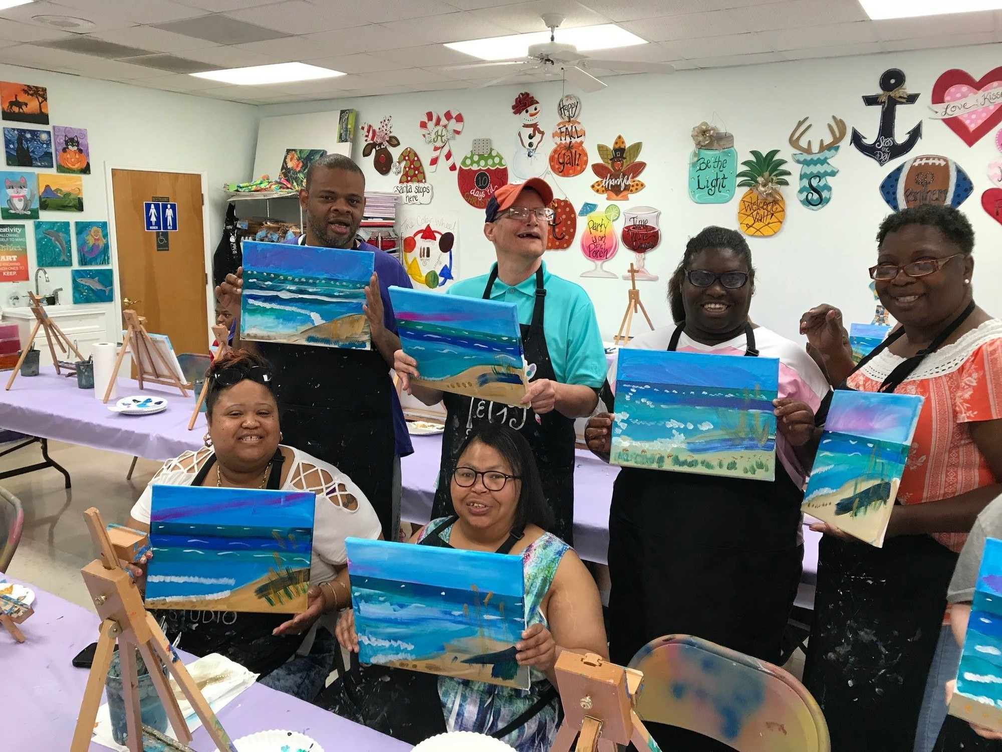 Clarendon County Disabilities and Special Needs Board took 14 consumers on a trip to Sumter's Sip & Gogh for a painting class on Tuesday. Each participant painted a picture to take home and enjoy. This outing is one of many that the board offers in an effort to give them the same opportunities that non-disabled individuals enjoy.