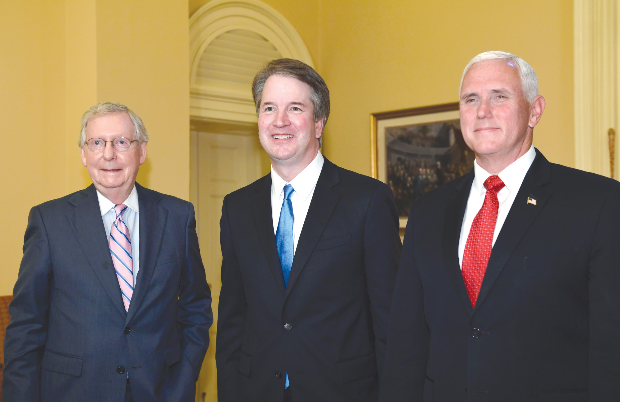 Image result for Senate Majority Leader Mitch McConnell (R-Ky.), Supreme Court nominee Judge Brett Kavanaugh and Vice President Mike Pence are seen July 10.