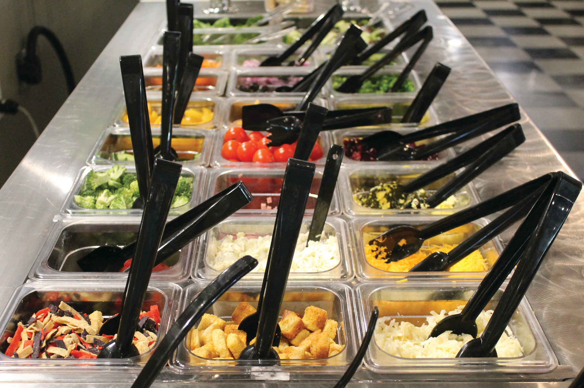 Mill Street Grill's salad bar features more than three dozen items, including a variety of vegetables, greens, fruit and dressings.