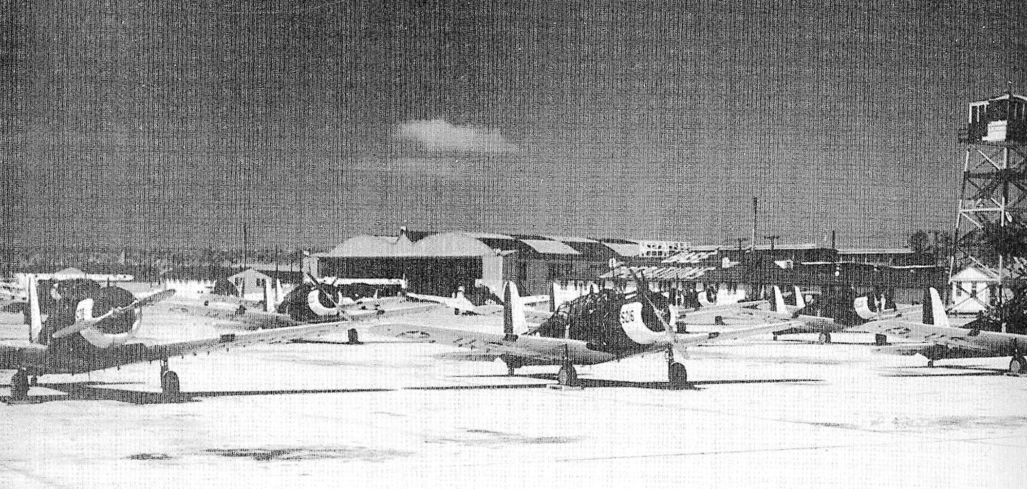 Shaw Field is seen in 1941 after some of a fleet of  Consolidated Vultee BT 13-A training aircraft were flown to the base on a transcontinental flight from Los Angeles. The planes were used to train pilots at the new flight school in Sumter.