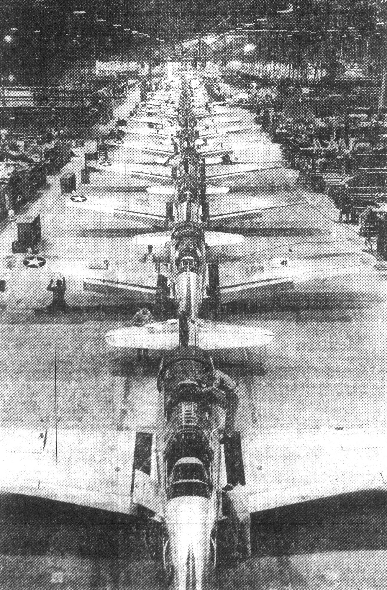 The production line at the Consolidated Vultee aircraft plant is seen in 1943 at Downey, California, where basic trainer planes like the ones used at Shaw Field were made. Sumter citizens helped to buy several of these planes by buying war bonds during the Lions Club drive.