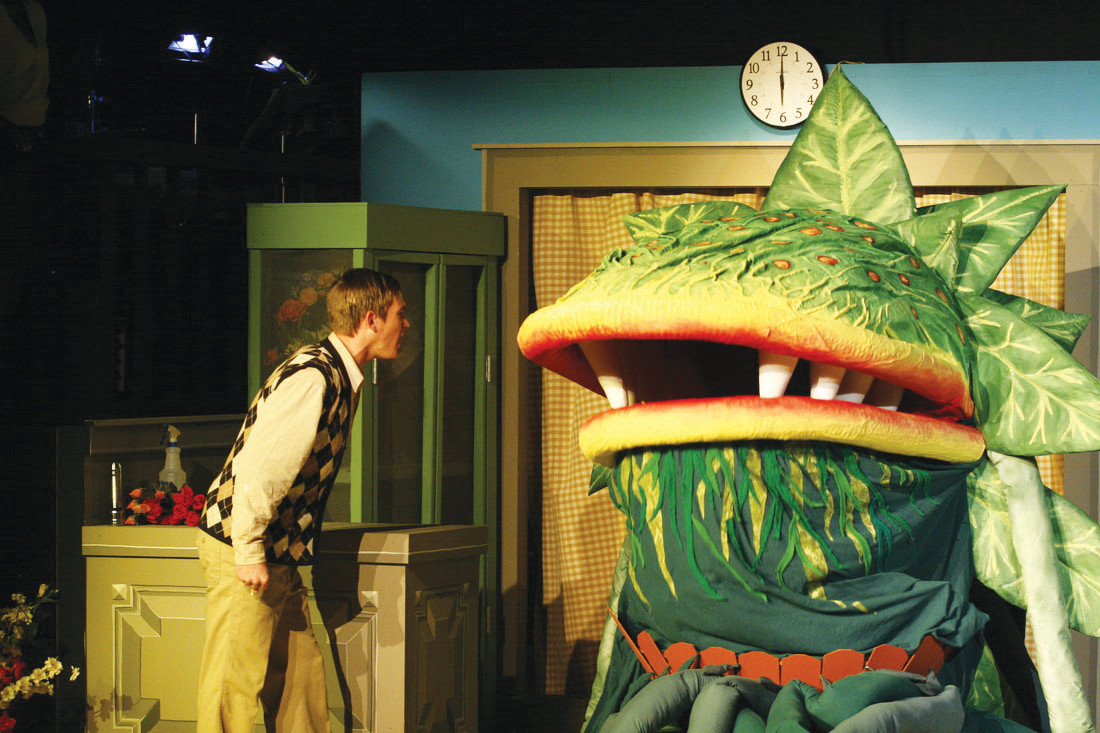 "Will Baker as the timid floral assistant Seymour Krelborn confronts the ever-growing plant he named Audrey II about its intention to dominate the world in a scene from Sumter Little Theatre's 2010 production of the musical comedy ""Little Shop of Horrors."" Auditions for the show will be held at SLT on July 26 and 27."