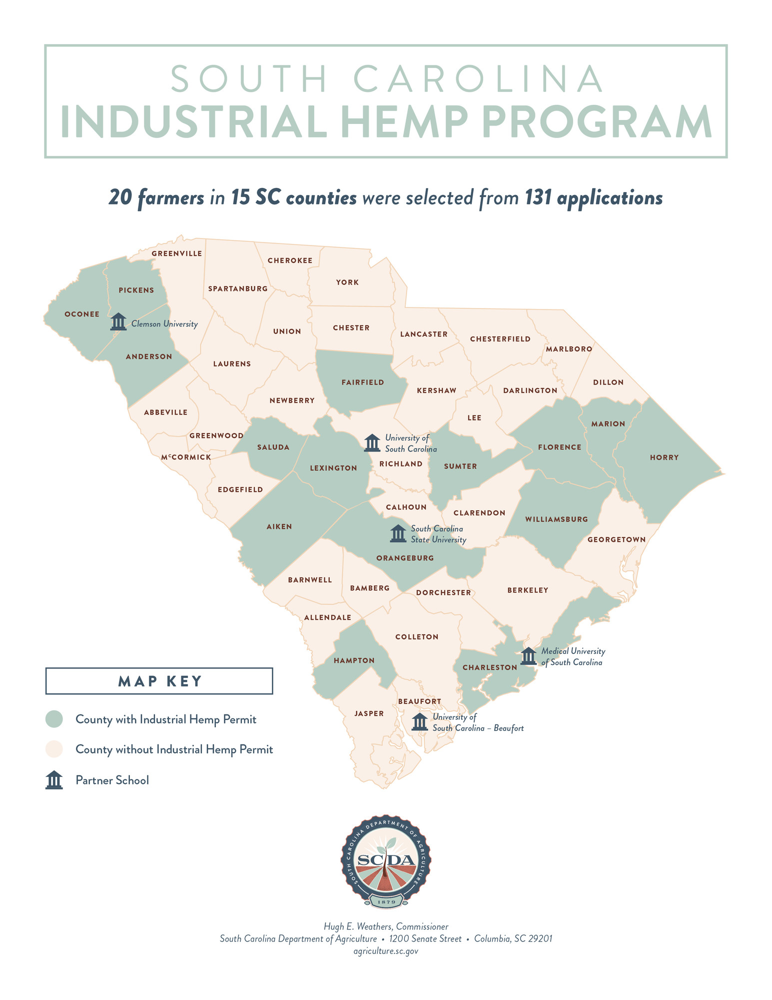 A total of 20 farmers from 15 counties in the state were selected for this year's South Carolina Industrial Hemp Pilot Program.
