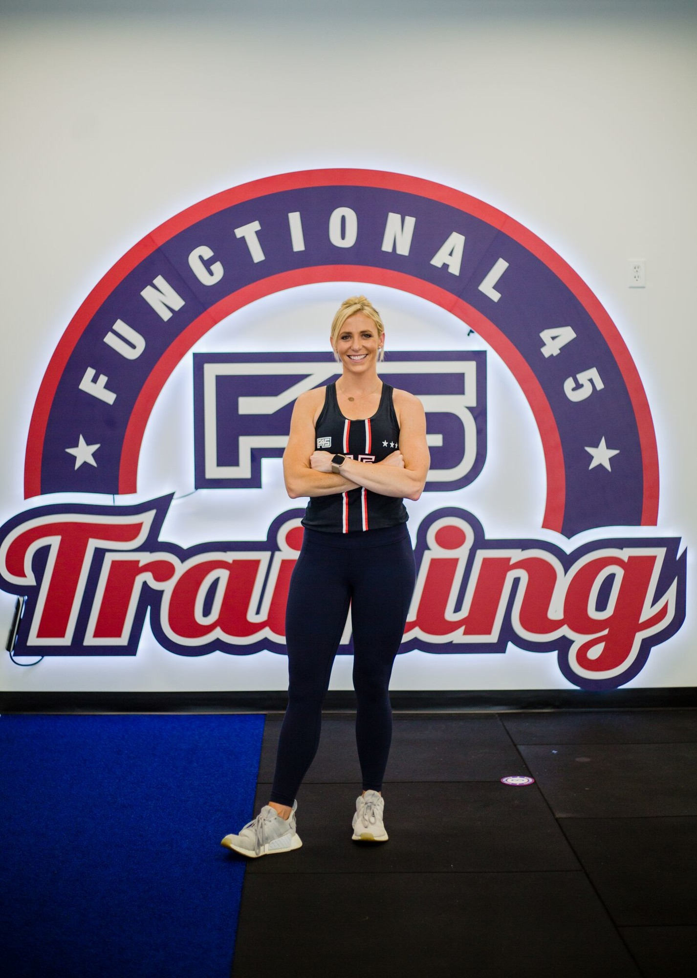 F45 Sumter General Manager Ashley Schwedler stands in the studio area to her new gym in the downtown area on Monday.