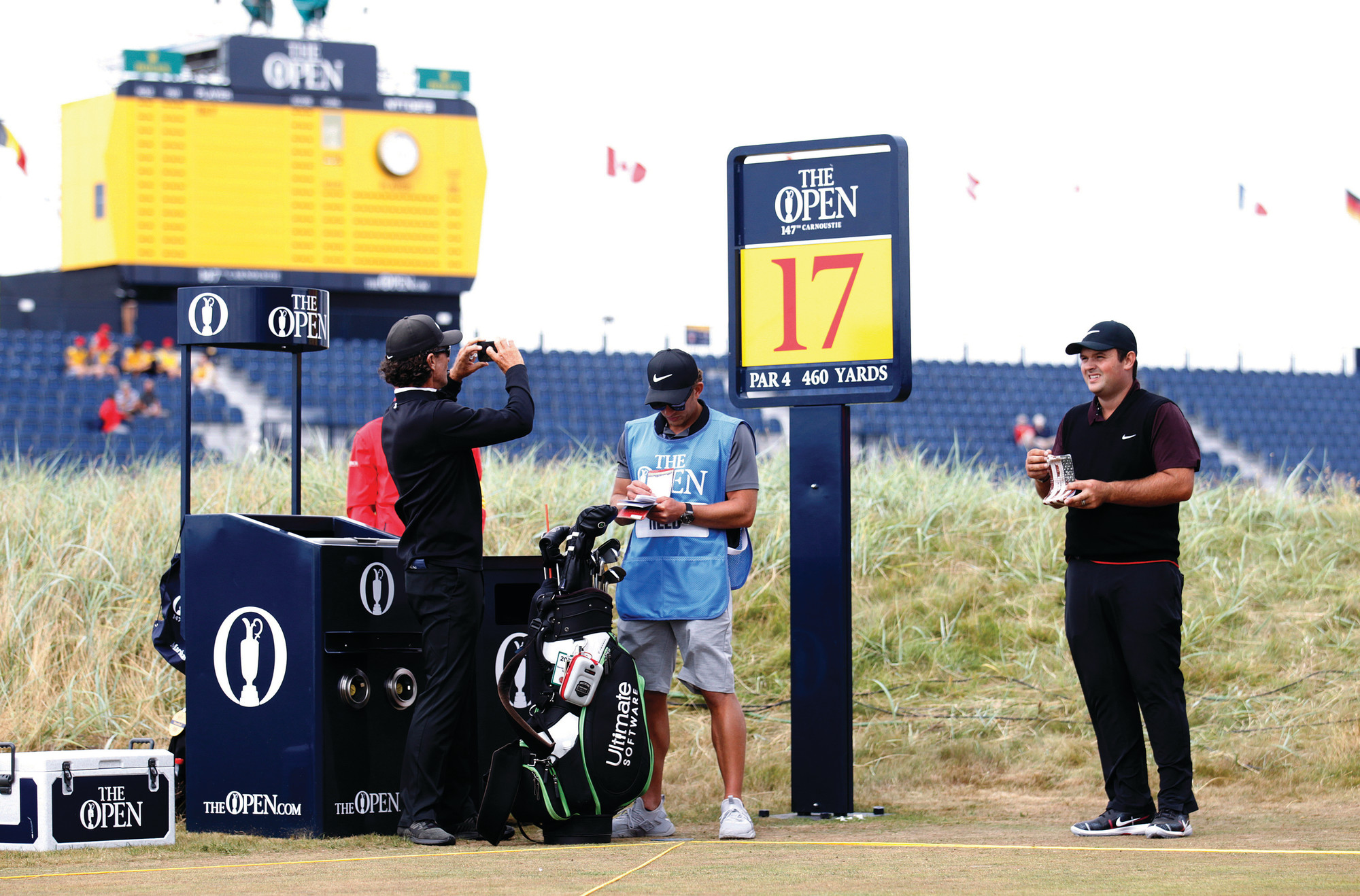 Masters champion Patrick Reed goes through a practice round for the 147th British Open on Tuesday in Carnoustie Scotland. The tournament begins on Thursday