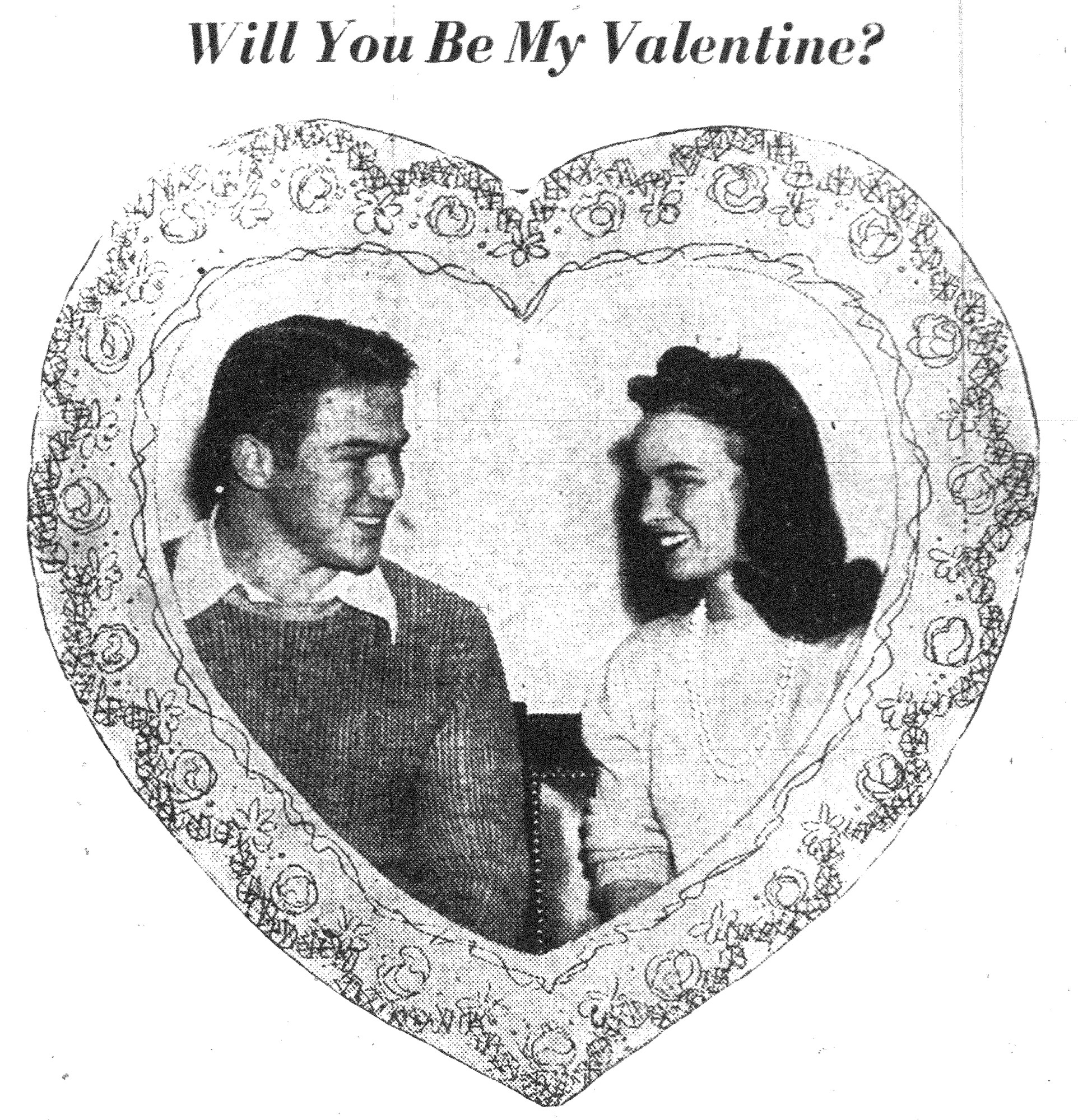 "1944 -   Harry Commins, beau of the senior class at Sumter High School, ""caught in the act"" of asking Gladys Elkes, belle, to be his valentine."