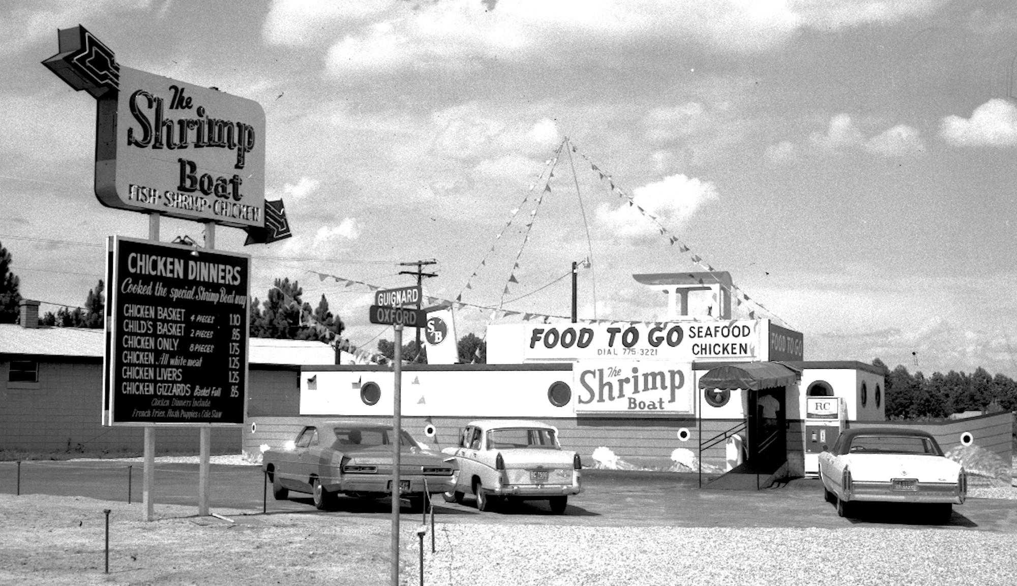 The Shrimp Boat restaurant was popular for its shrimp and chicken dinners.