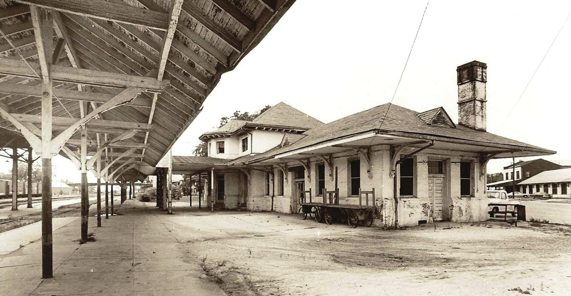 The old Sumter train station was located east of Harvin Street and was torn down circa 1972. Many Sumterites used to venture near and far by rail.