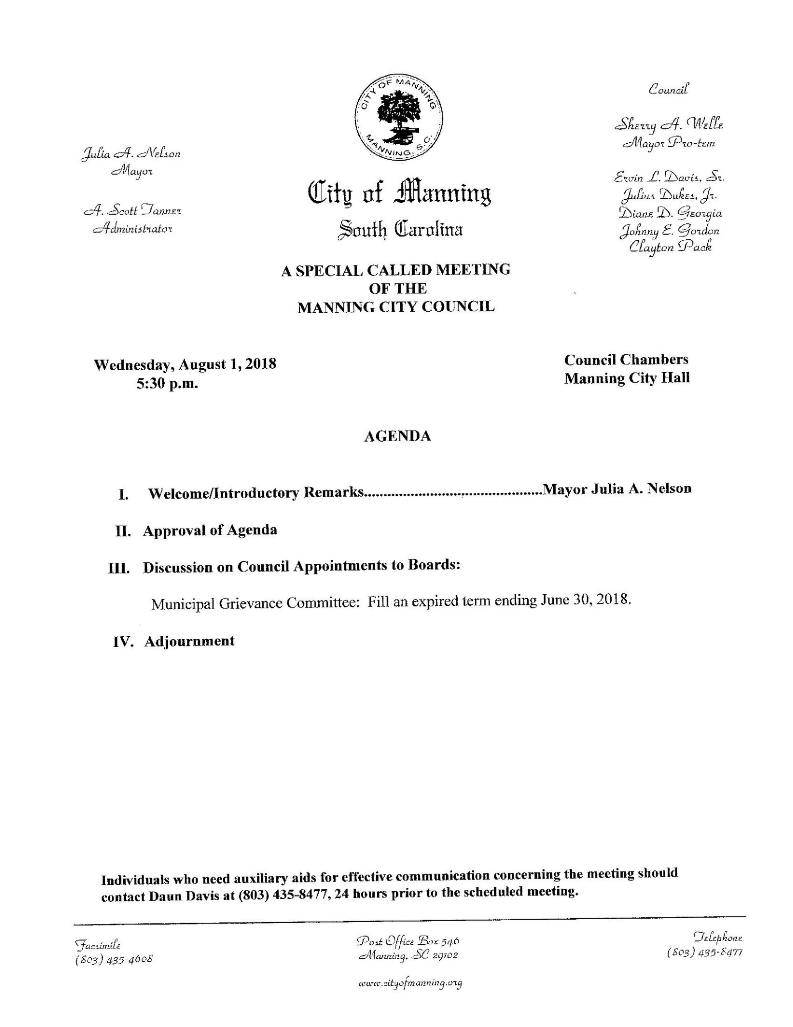 A copy of the agenda for Wednesday's meeting distributed to The Sumter Item Tuesday afternoon shows a discussion will be had to fill an expired term ending June 30, 2018.