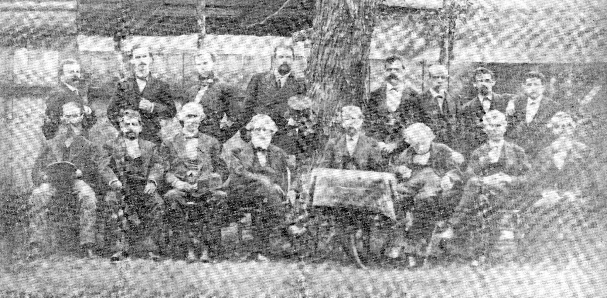 With the exception of Col. J.D. Blanding, who was out of town, this is a picture of the entire Sumter County Bar of 1876, taken by J.D. Wilder. Standing from left are R.L. Cooper, Joseph H. Earle, R.D. Lee, J.G. Richardson, S. Mayrant, G.E. Haynsworth, J.D. Dargan, and Marion Moise. Sitting are J.J. Fleming, E.W. Moise, E.M. Seabrook, W.F.B. Haynsworth, Judge Shaw, J.A.G. Richardson (taking a quick nap), T.B. Fraser and John S. Richardson.