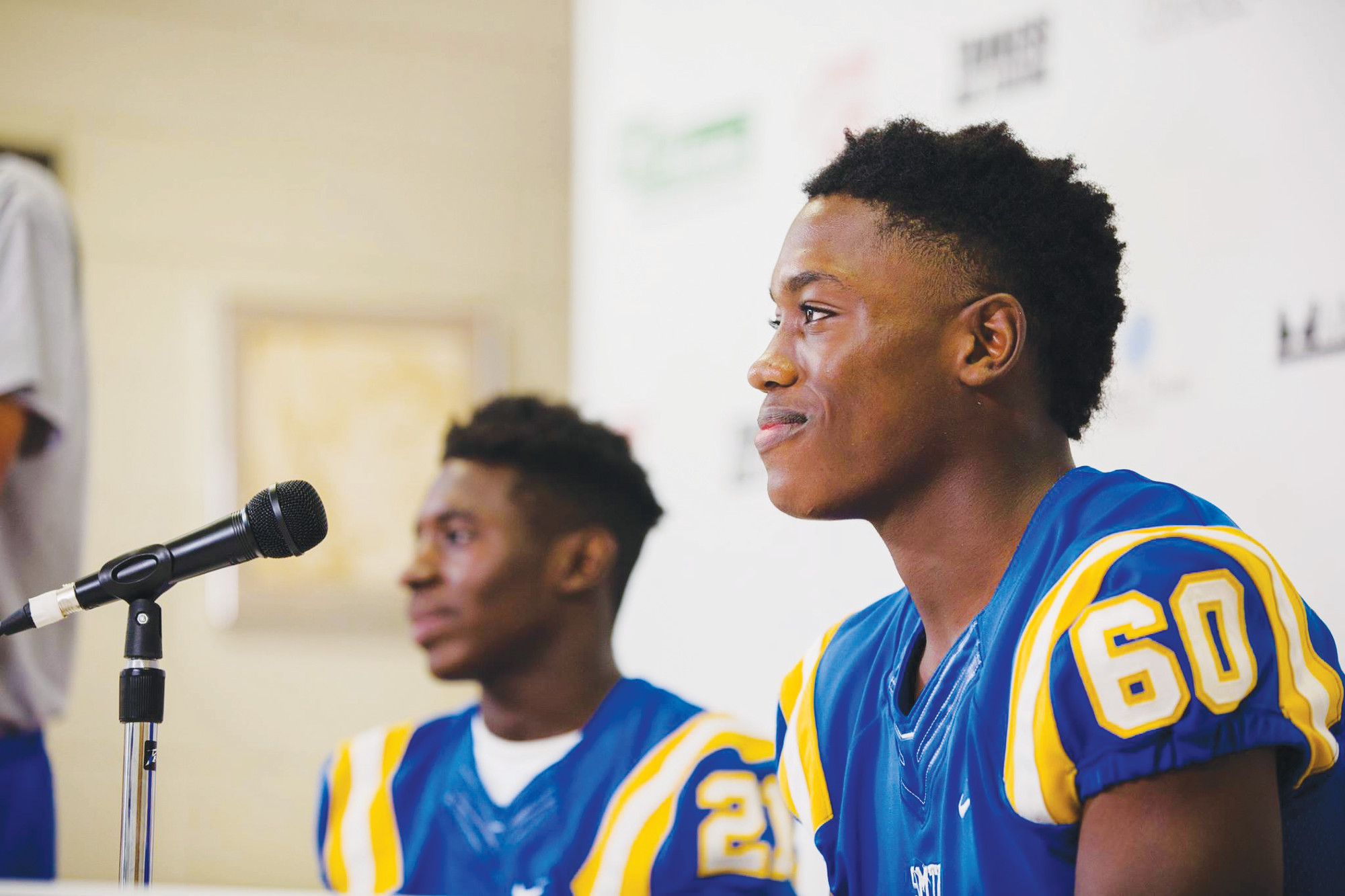 Sumter's Antonio Roach (21) and Zion Nelson field questions during the first The Sumter Item Media