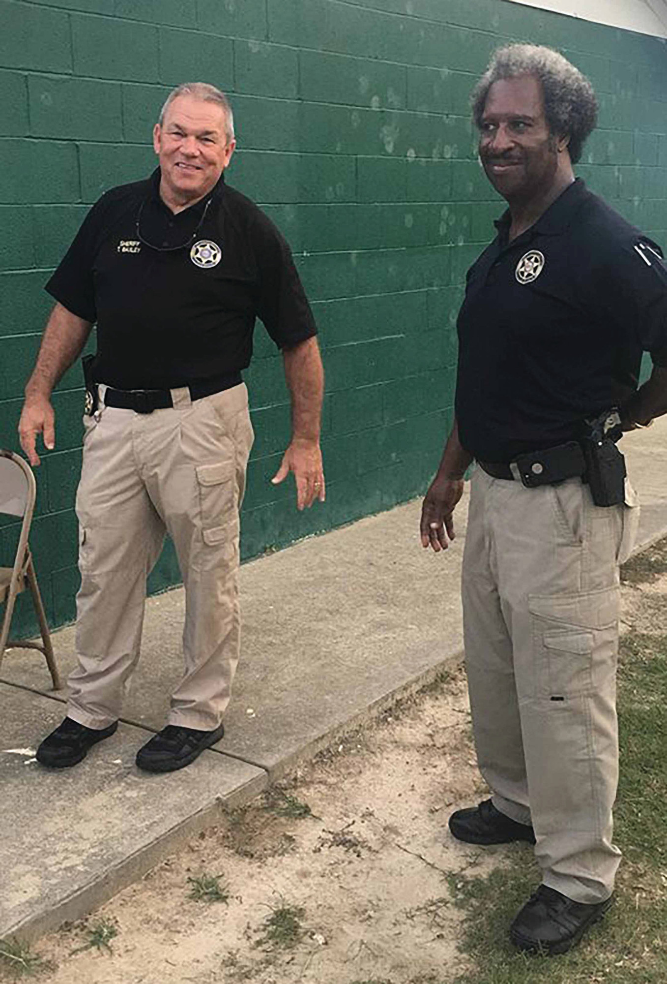 Clarendon County Sheriff Tim Baxley and Deputy Preston Stukes were on hand for Tuesday's National Night Out at J.C. Britton Park.