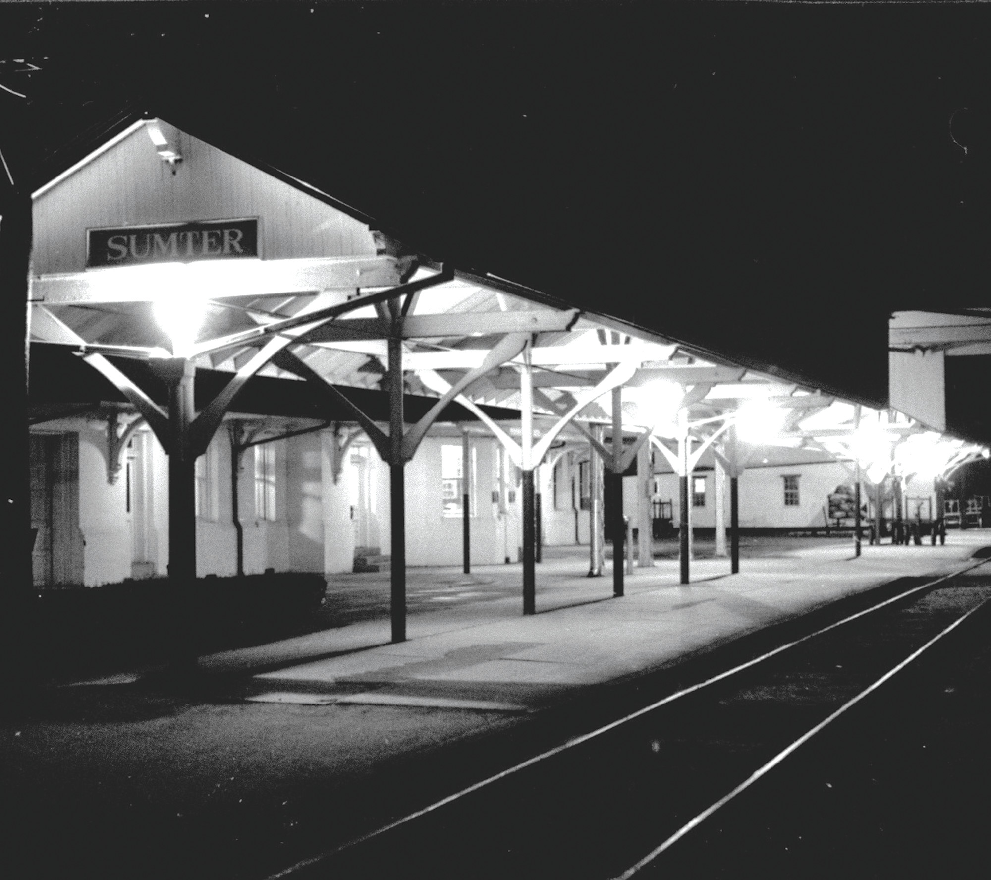 Sumter Train Depot is seen at night.