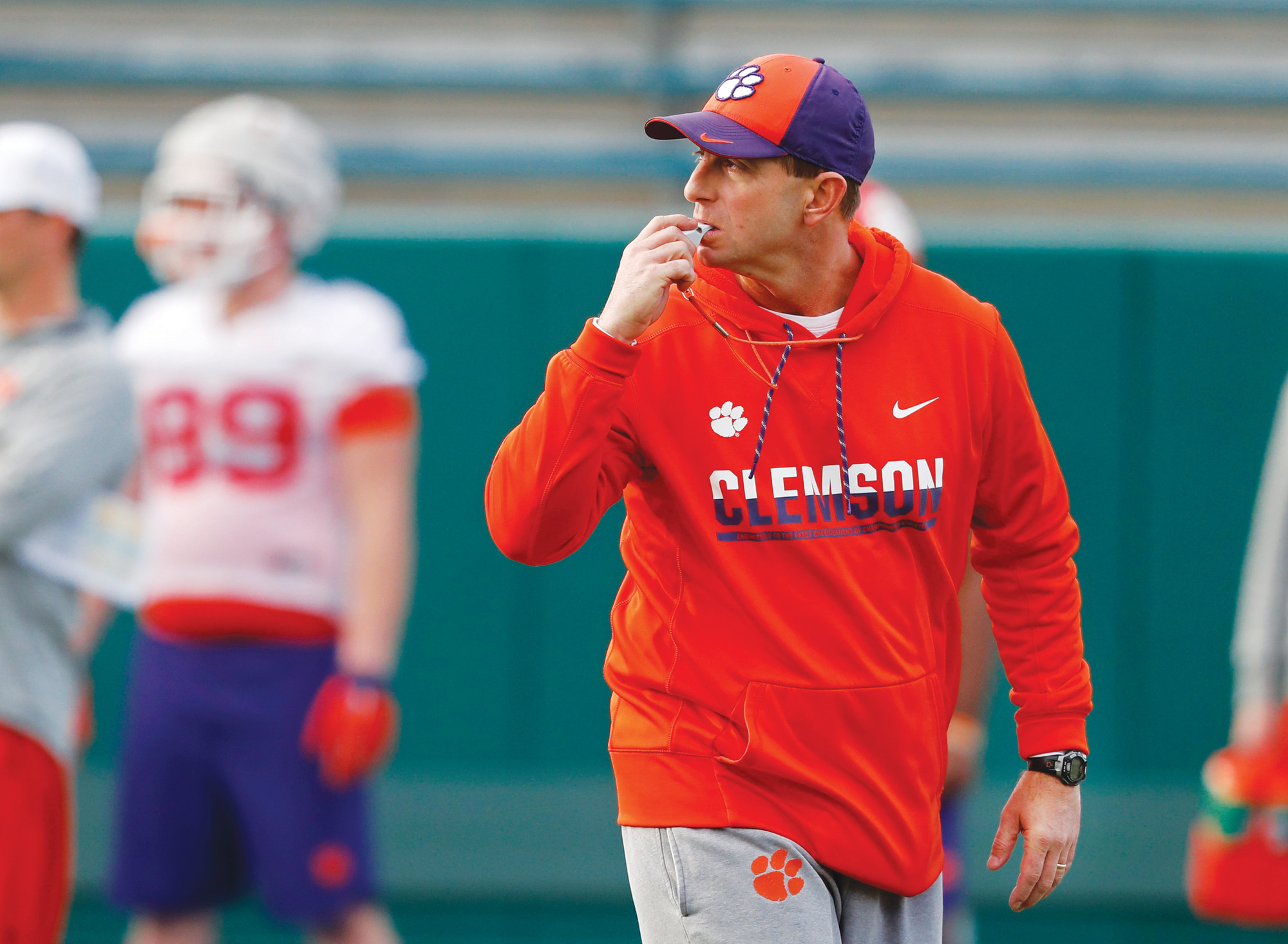 AP FILE PHOTO  Clemson head coach Dabo Swinney runs practice before the 2017 Sugar Bowl game against Alabama in New Orleans. Swinney's Tigers are the heavy favorite to become the first ACC team to win four straight league titles since Florida State's dominating run through the 1990s.