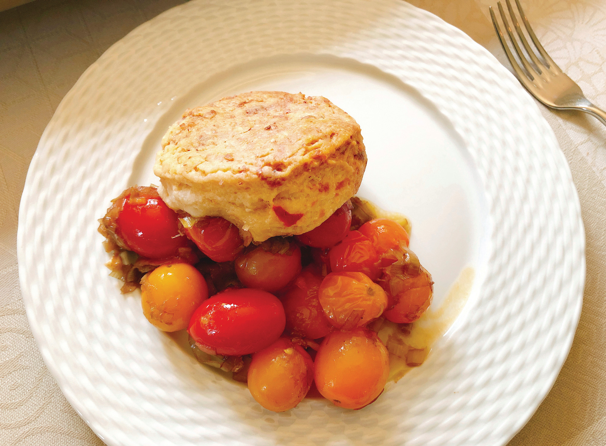 Cherry tomato cobbler with pimento cheese biscuits
