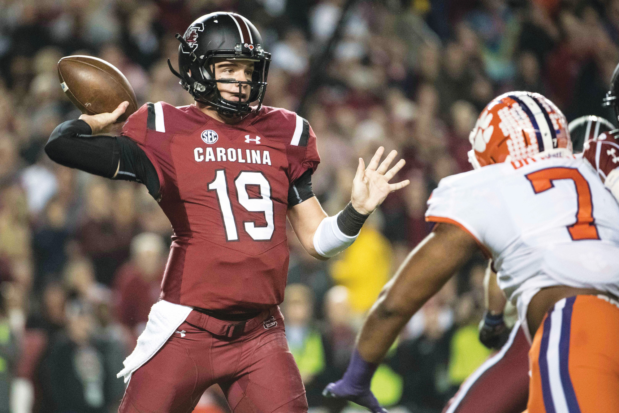 THE ASSOCIATED PRESS  Expectations are high for South Carolina and quarterback Jake Bentley (19) after the Gamecocks went 9-4 in Will Muschamp's second season.
