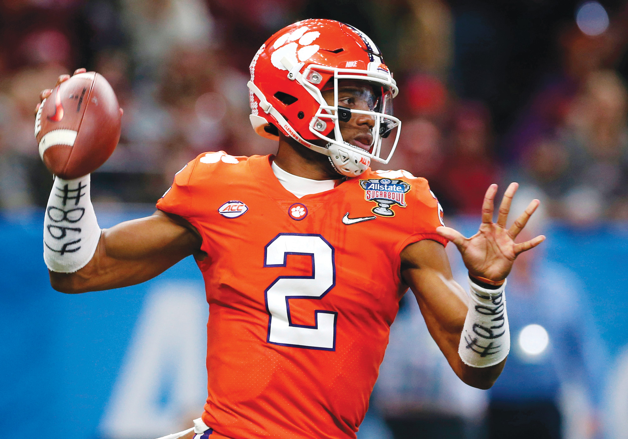 FILE - In this Jan. 1, 2018, file photo, Clemson quarterback Kelly Bryant (2) passes in the first half of the Sugar Bowl NCAA college football bowl game against Alabama, in New Orleans. Veteran Kelly Bryant is Clemson's starting quarterback, holding off promising freshman Trevor Lawrence. The second-ranked Tigers open the season Saturday at home against Furman. The team released its first depth chart Monday, Aug. 27, 2018, with Bryant on top in the closely watched competition.