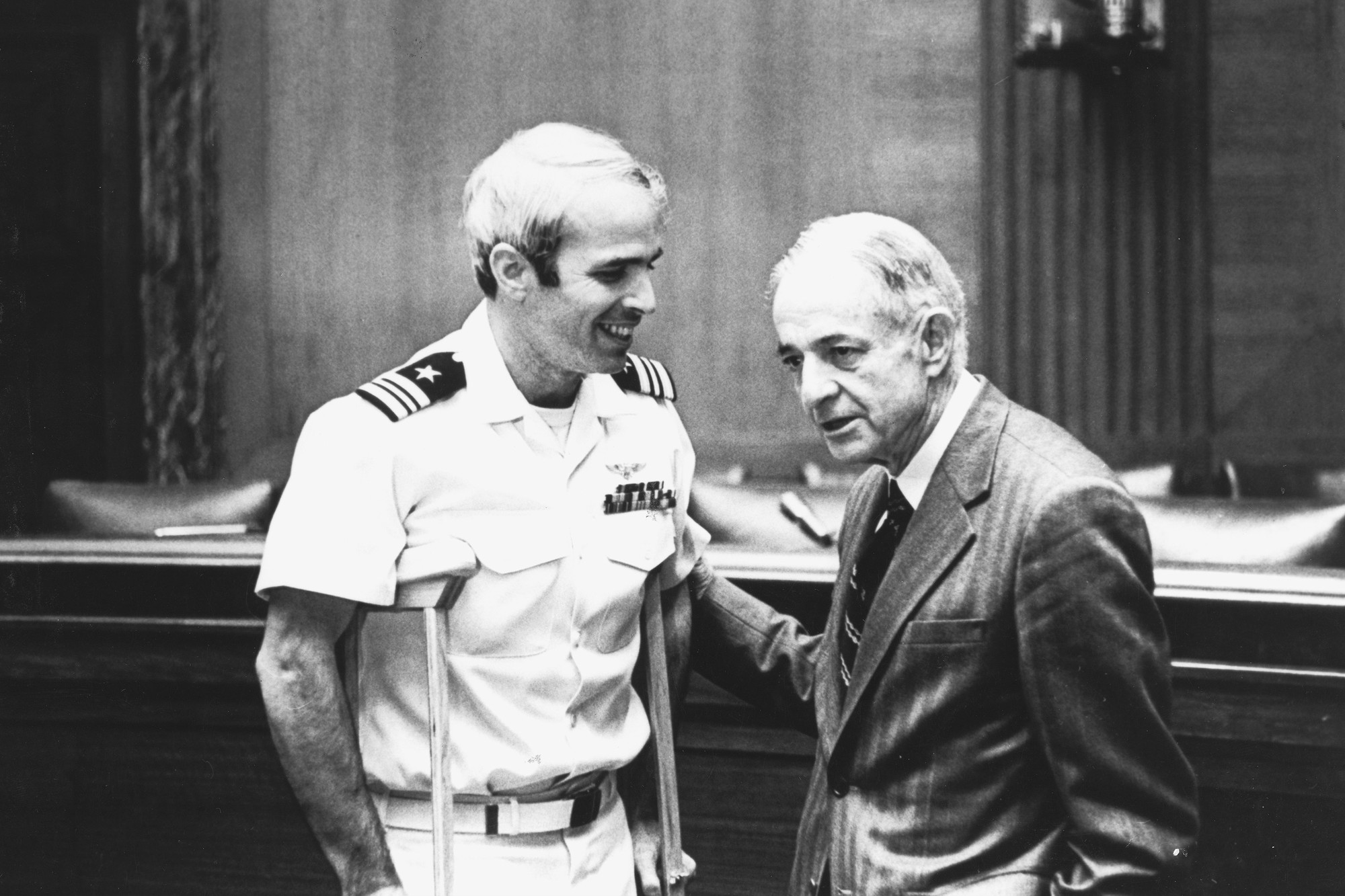 John McCain, left, is shown with his father, Admiral John S. McCain Jr., after his release from a North Vietnamese prison camp in 1973.