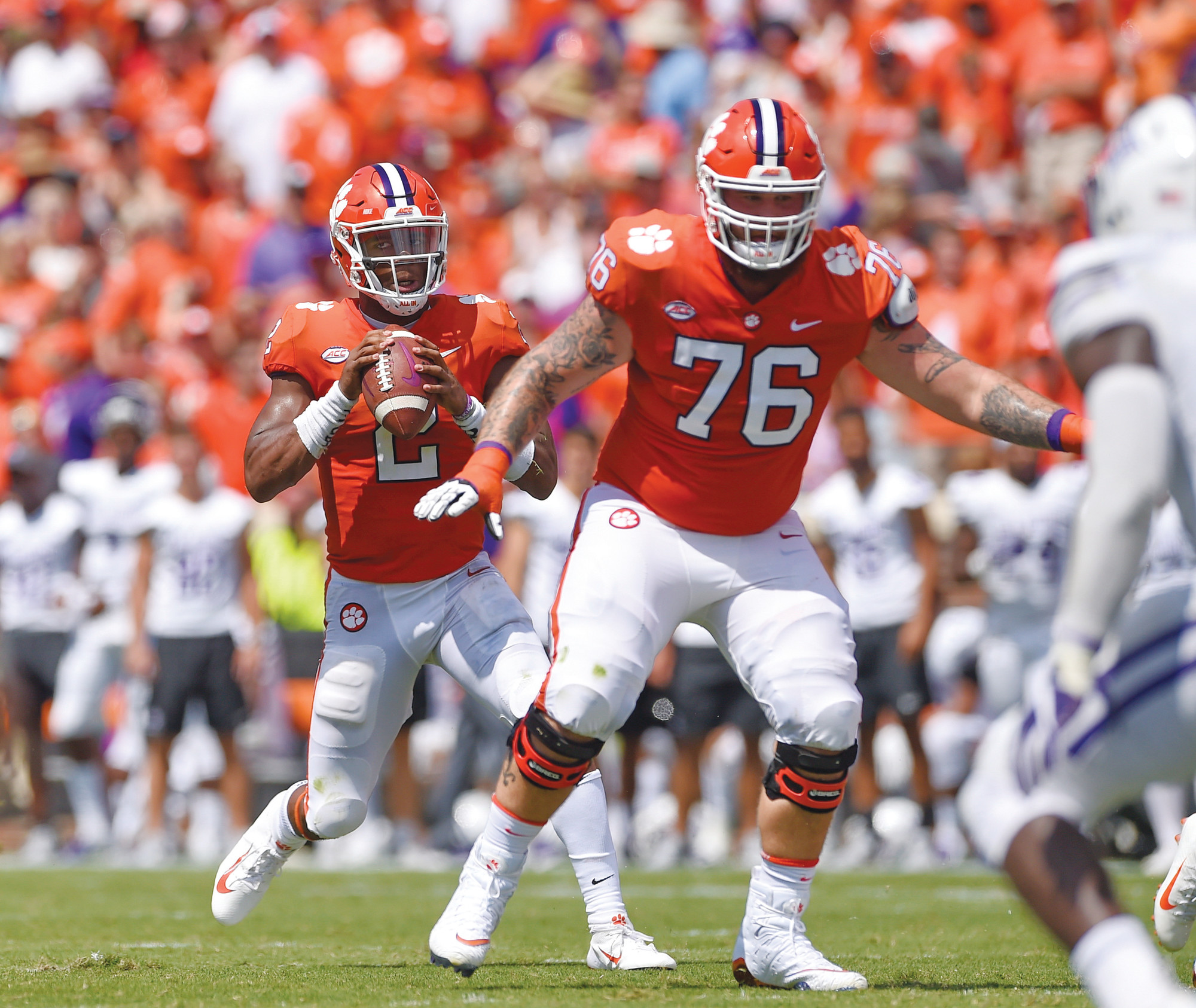 Clemson quarterback Kelly Bryant drops back to pass with blocking help from Sean Pollard (76) during the first half of the Tigers' 48-7 victory over Furman on Saturday in the season opener for both teams.