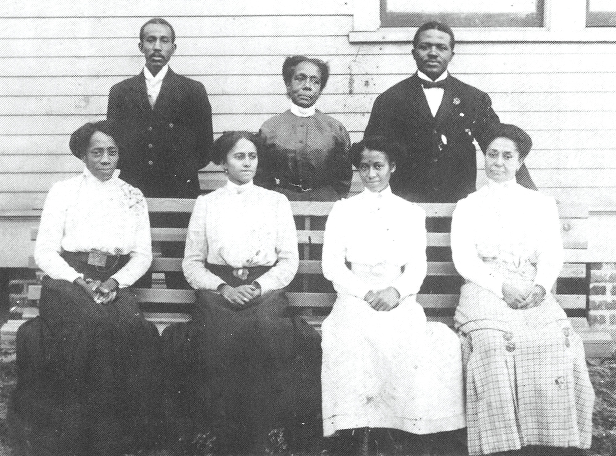 The faculty at the Lincoln Graded School, circa 1911, are seen in this photo. Seated left to right are Anna Davis, Edna Lowery, Prudence Lewis and Mamie Glover. Standing are, from left, J.C. Prioleau, assistant principal; Martha Savage; and C.A. Lawson, principal. Savage and Glover are the teachers for whom Savage-Glover School was named.