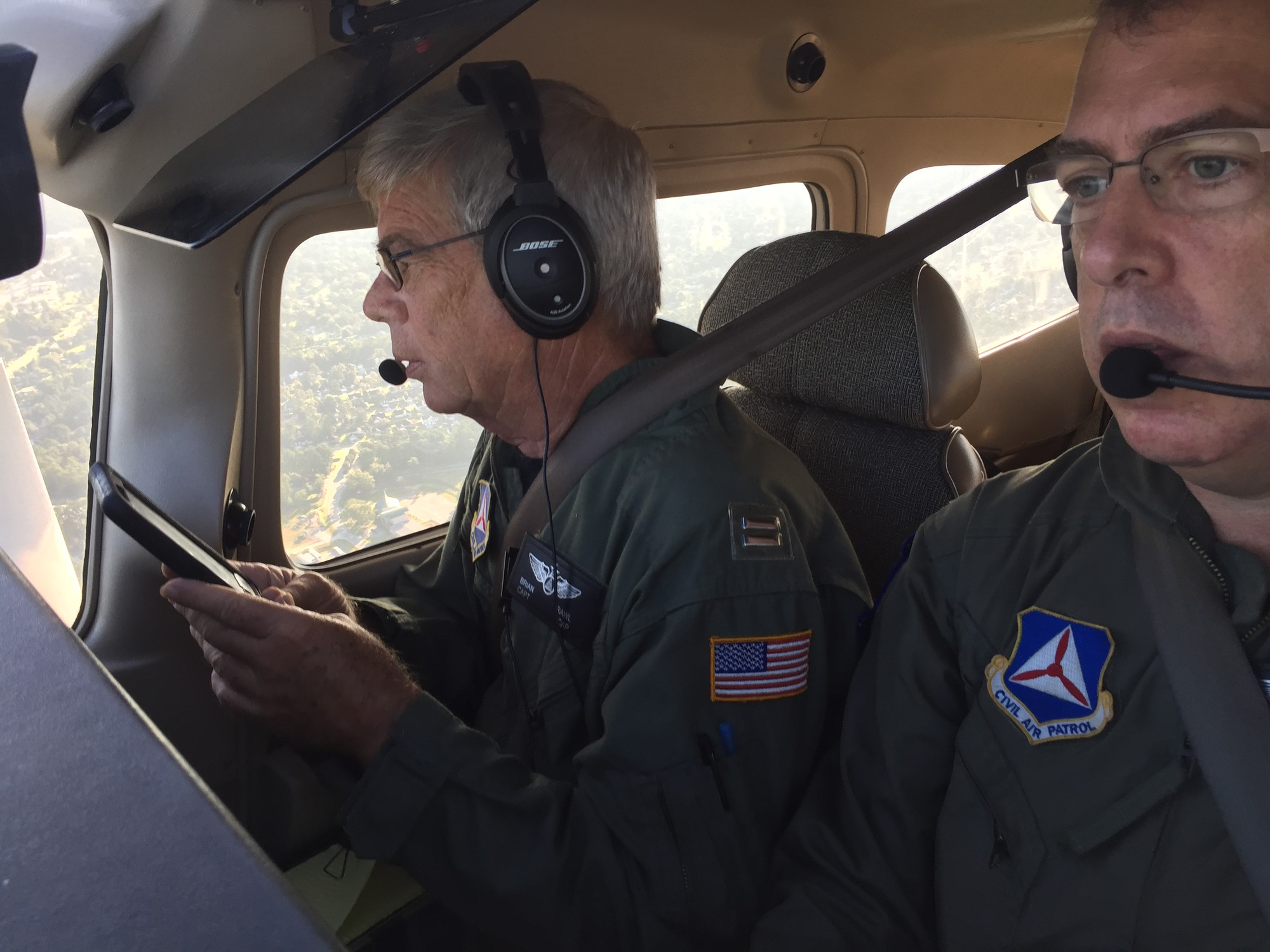 Lt. Col. Brett Grooms and Capt. Brian Rawl perform route evacuation flights over I-26 in South Carolina on Tuesday, Sept. 11.