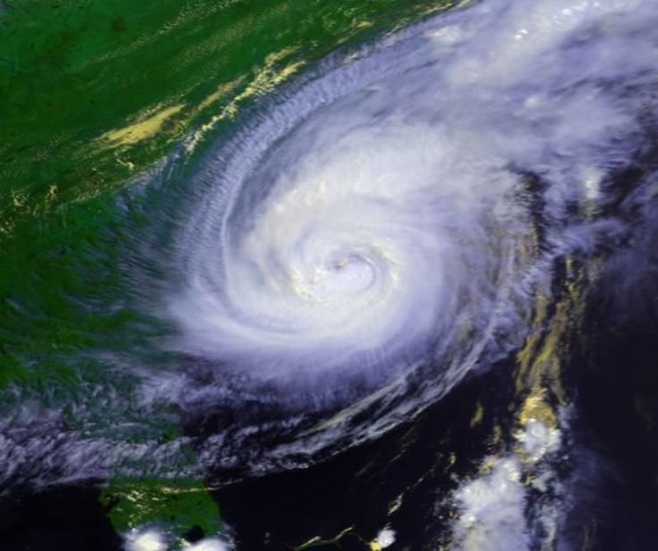 Hurricane Bonnie making landfall near Wilmington, N.C., late on Aug. 26, 1988.