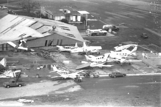 Photo of damaged planes at Sumter's Airport after Hurricane Hugo.