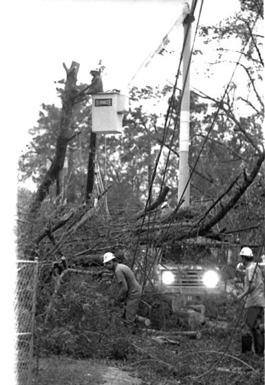 Crews repair downed power lines. They worked to restore power to Sumter residents after Hurricane Hugo.
