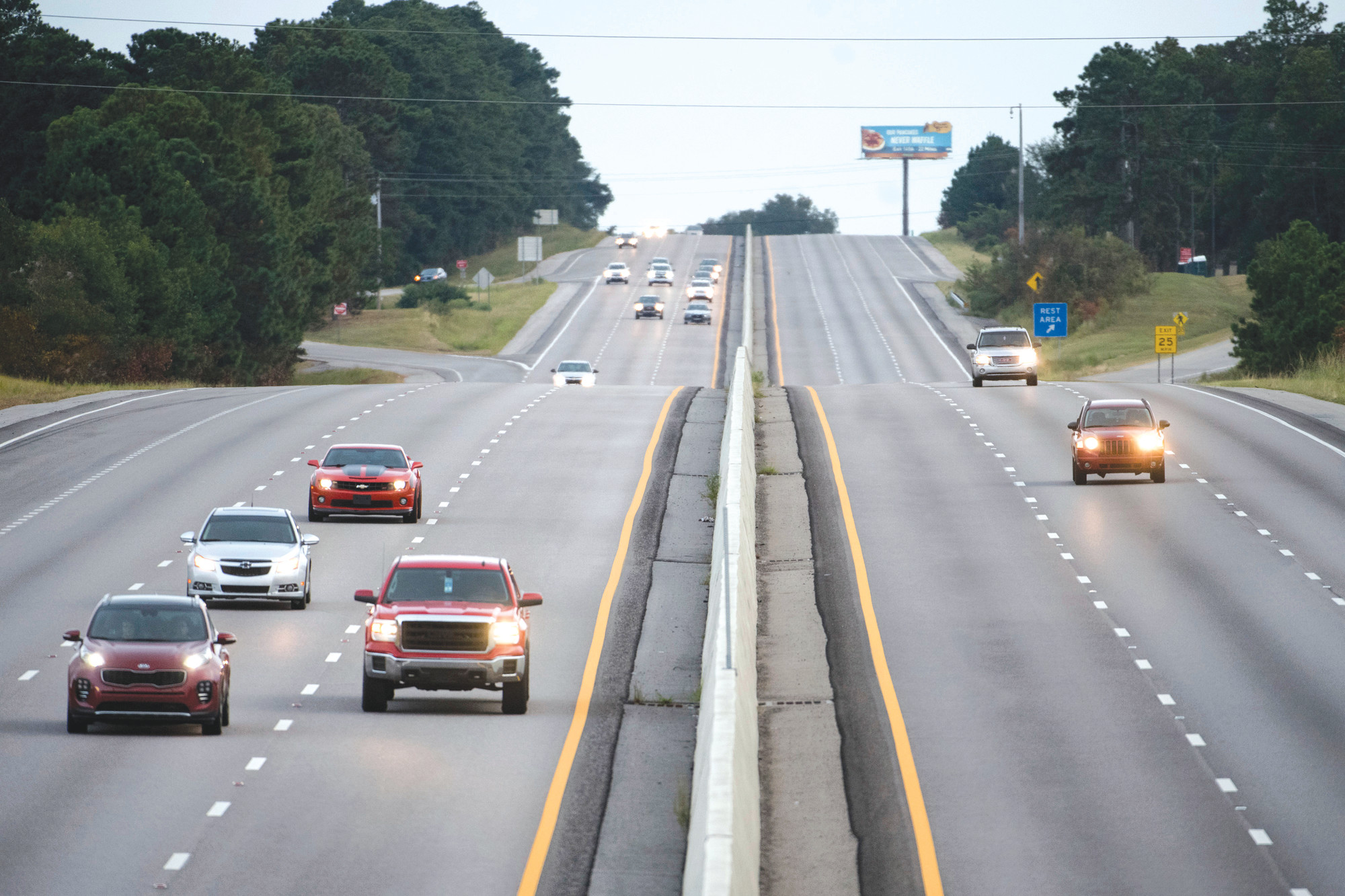 Traffic moves west on all lanes of Interstate 26 on Tuesday in Columbia. A lane reversal was implemented earlier in the day, utilizing all lanes for travel west between Charleston and Columbia in anticipation of the arrival of Hurricane Florence.