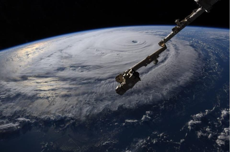Hurricane Florence is seen from the International Space Station over the Atlantic as it heads toward the Southeast U.S. coast. An astronaut aboard the ISS sent