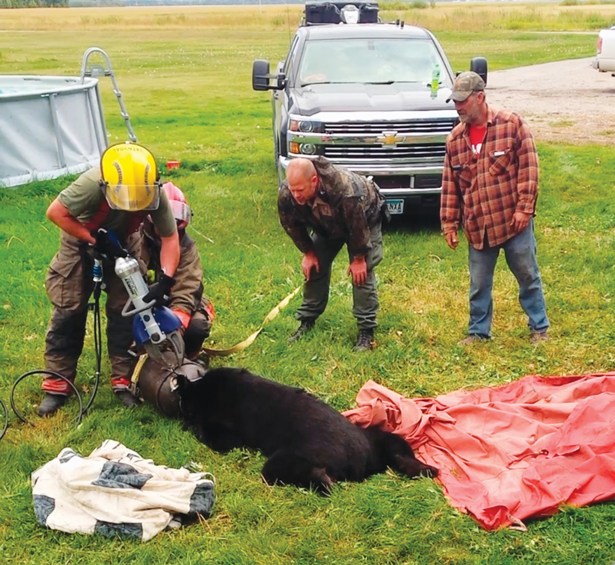 THE ASSOCIATED PRESSIn this photo provided by Dawn Knutson, rescue personnel use the Jaws of Life to free a black bear after its head became stuck inside a 10-gallon milk can near Roseau, Minnesota.