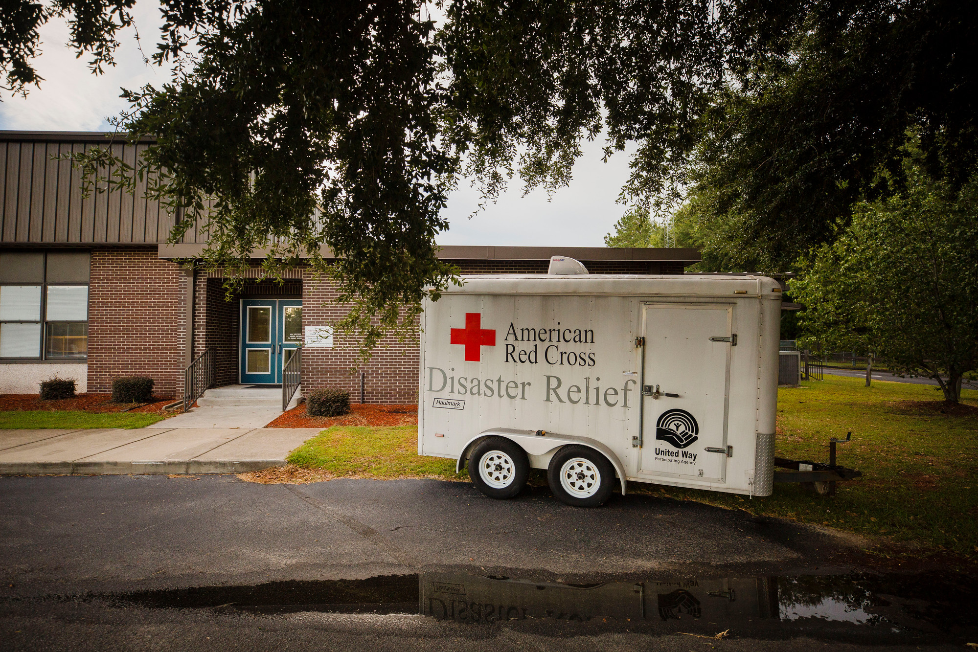 An American Red Cross Disater Relief trailer sits outside Mayewood Middle School on Wednesday afternoon.