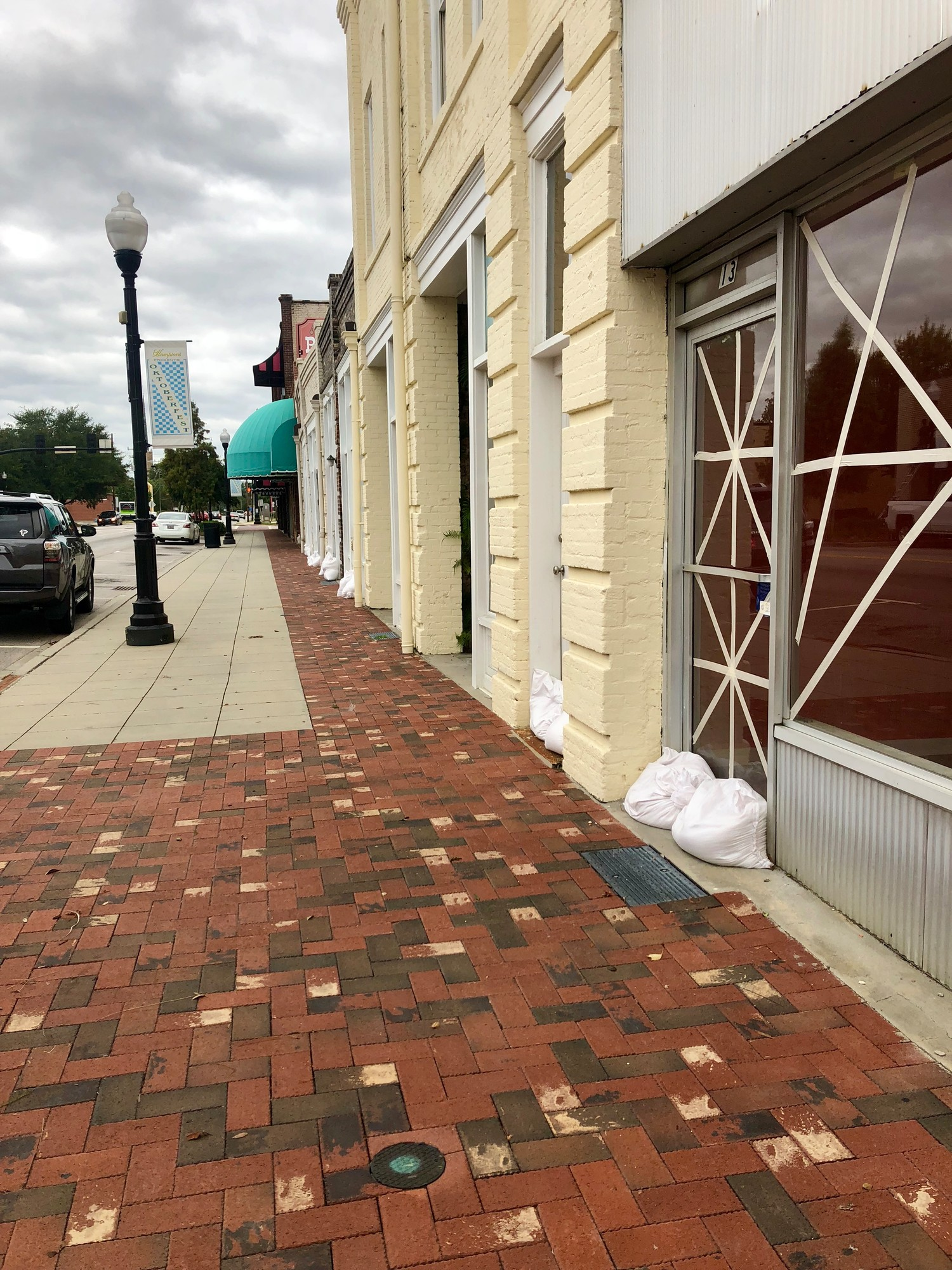Business fronts are taped and sandbagged ahead of Hurricane Florence's arrival on Friday afternoon in downtown Sumter.