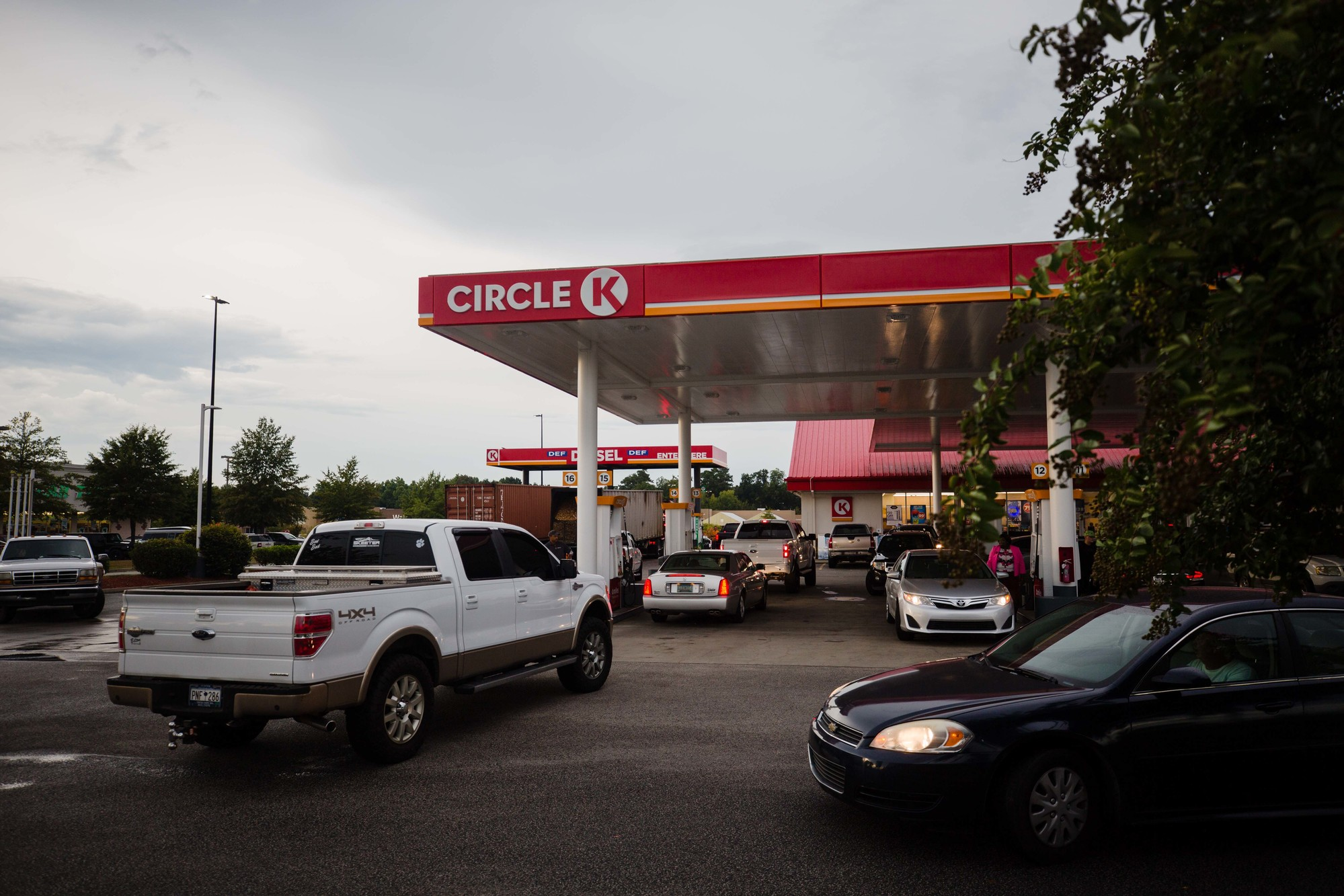 Cars line up for gas at the Circle K on Broad Street on Tuesday, Sept. 11.