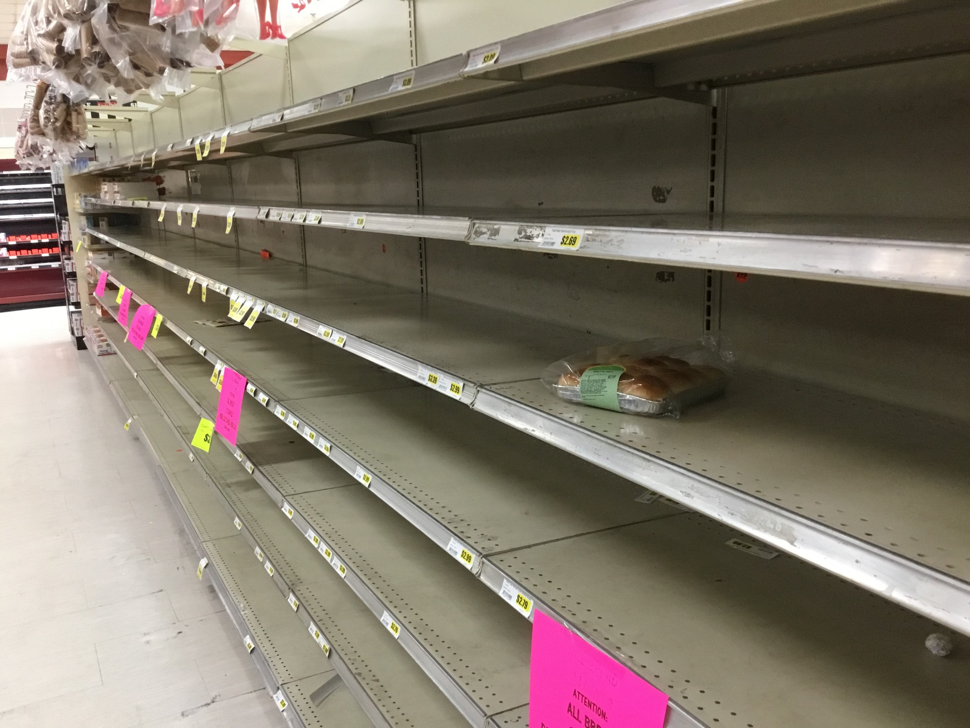 A lone package of bread is seen at the Piggly Wiggly on Broad Street Friday afternoon.