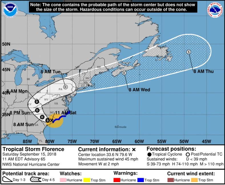 Updated feed: The latest as Tropical Storm Florence, now a ... on