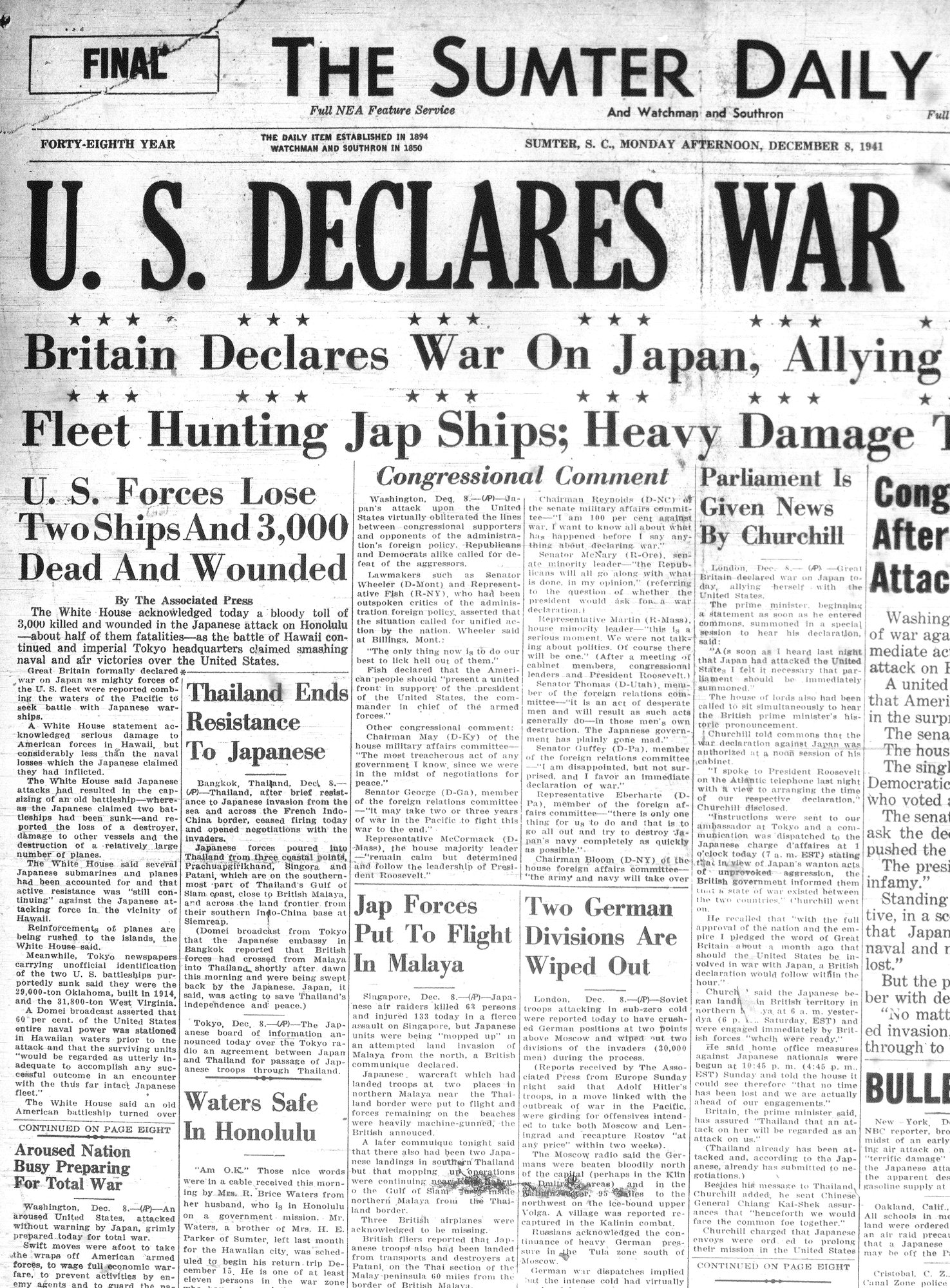 The Sumter Daily Item's Dec. 8, 1941, edition announces the war on Japan after Pearl Harbor was attacked the previous day.