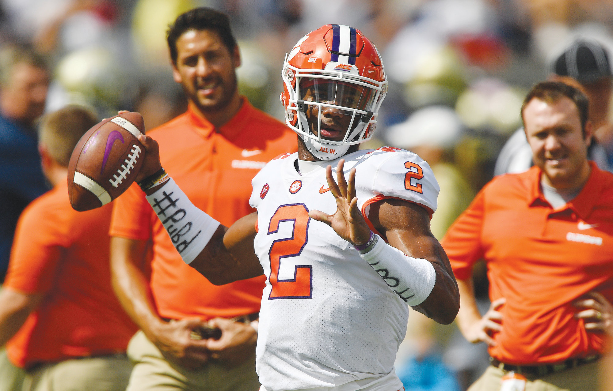 Clemson quarterback Kelly Bryant (2) warms up before the start of  the Tigers' game against Georgia Tech on Saturday in Atlanta. Bryant  lost the starting job to true freshman Trevor Lawrence on Monday and has decided to transfer to another school.
