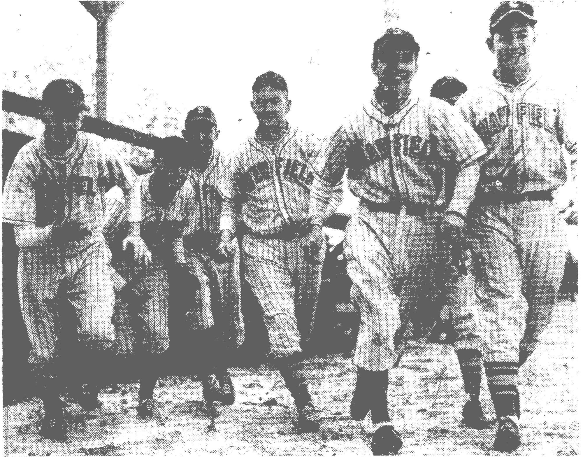 "1944 - This was the answer to the first ""play ball"" call as Shaw Field's baseball team turned out for the first practice game of the season. The GIs who made their debut were, from left, Cpl. James Grimsley, Pvt. George Turbeville, Cpl. ""Lefty"" Andrews, Pvt. Joe Hoydie, Sgt. Stan Ochal and Pvt. John Hurley."