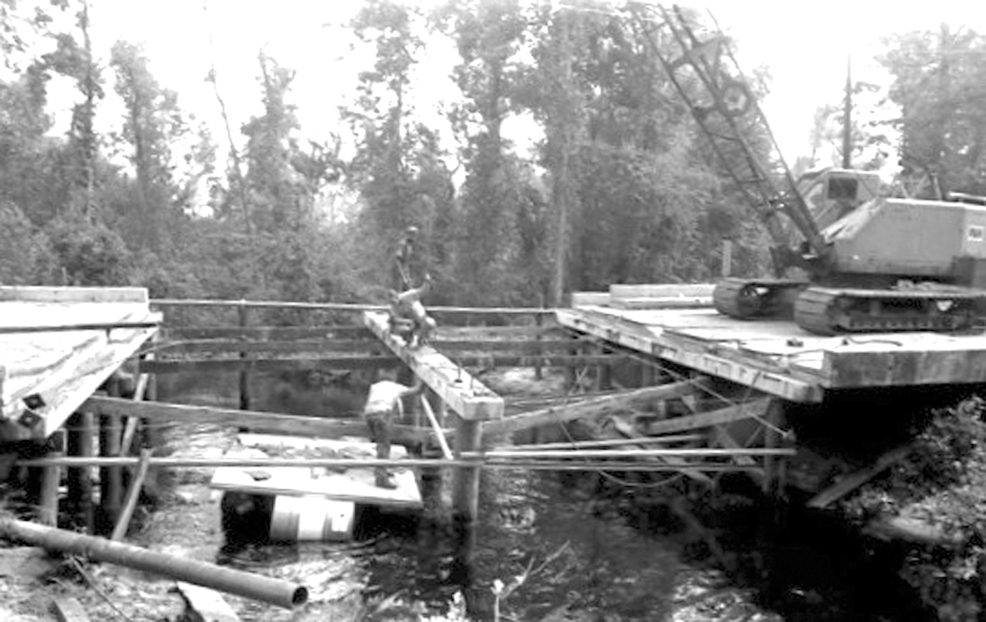 The Cains Mill Road bridge is seen being worked on in 1991.