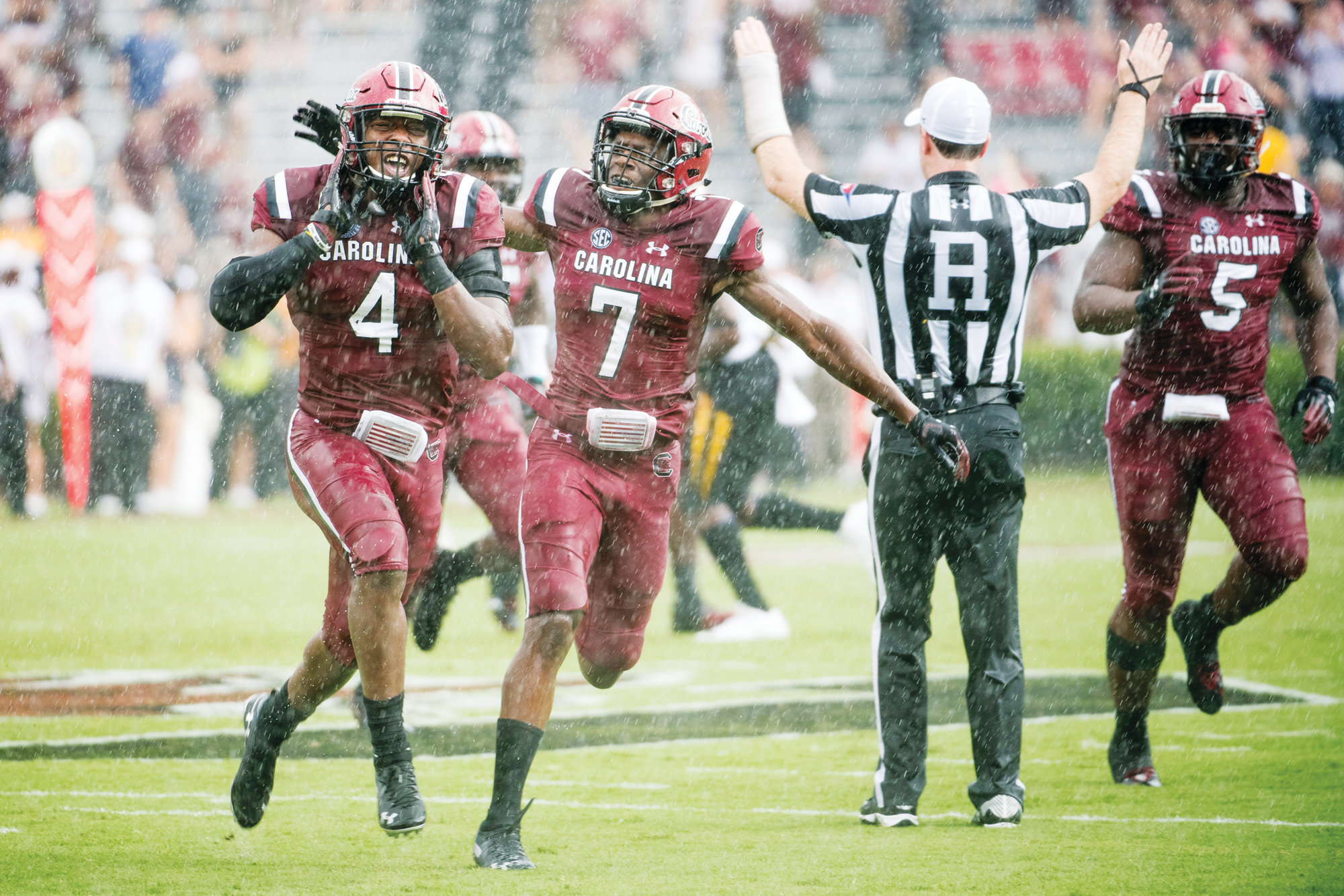 South Carolina linebacker Bryson Allen-Williams (4) and cornerback Jaycee Horn (7) celebrate an interception against Missouri during the Gamecocks; 37-35 victory on Saturday at Williams-Brice Stadium in Columbia.