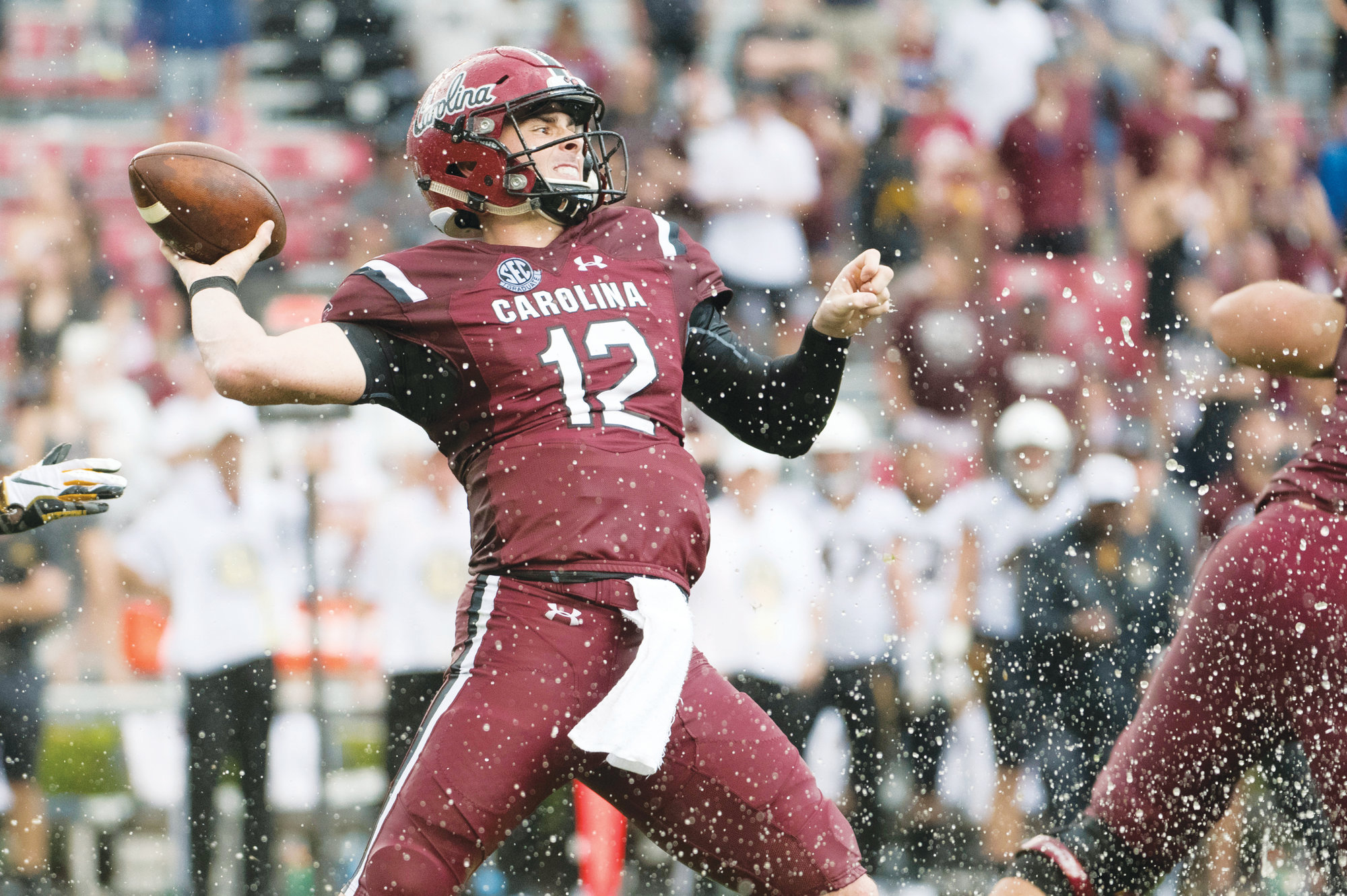 South Carolina quarterback Michael Scarnecchia (12) attempts a pass  against Missouri during the second half of the Gamecocks' 37-35 victory on Saturday at Williams-Brice Stadium in Columbia.