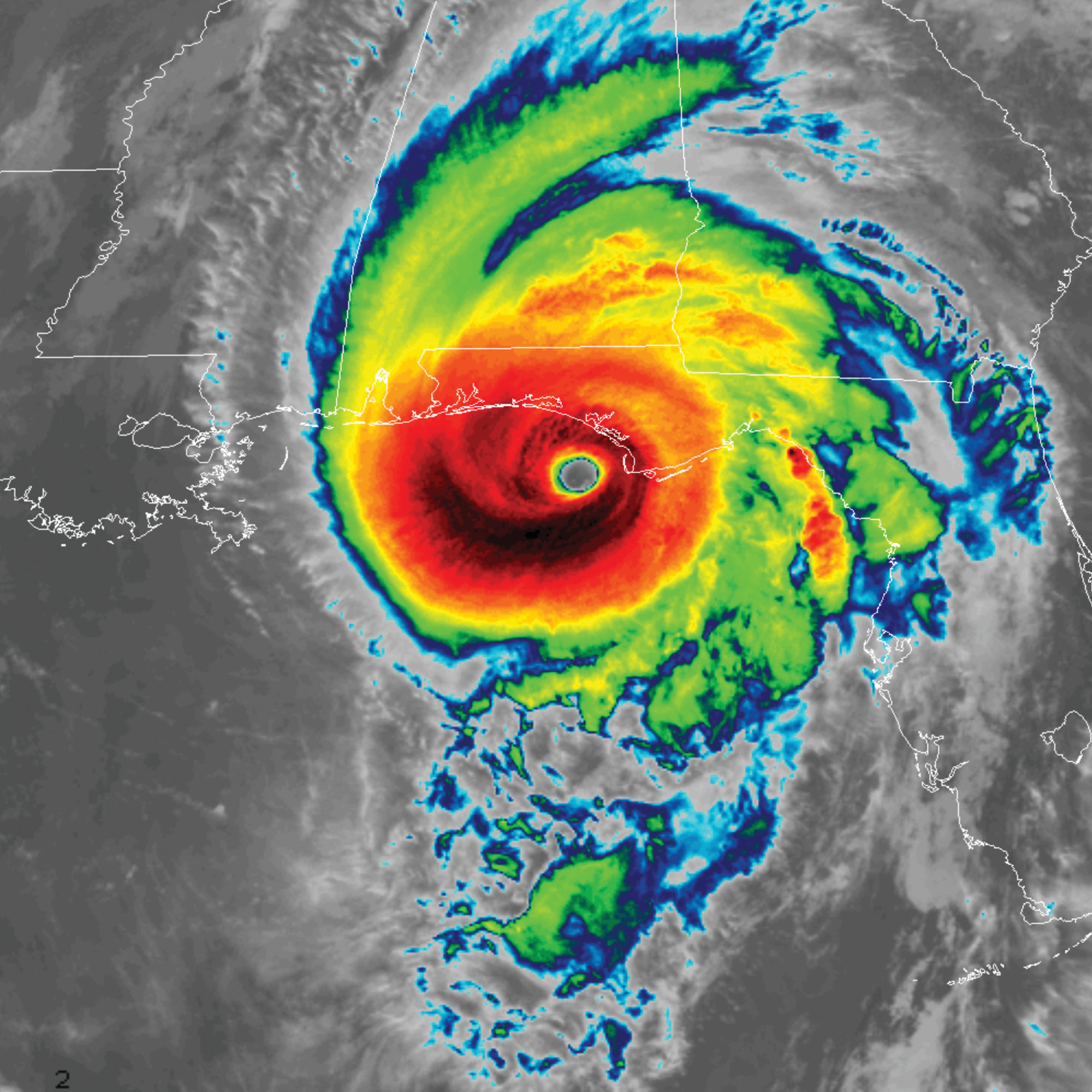 This infrared satellite image made available by NOAA shows Hurricane Michael approaching the Florida panhandle on Wednesday, Oct. 10, 2018.