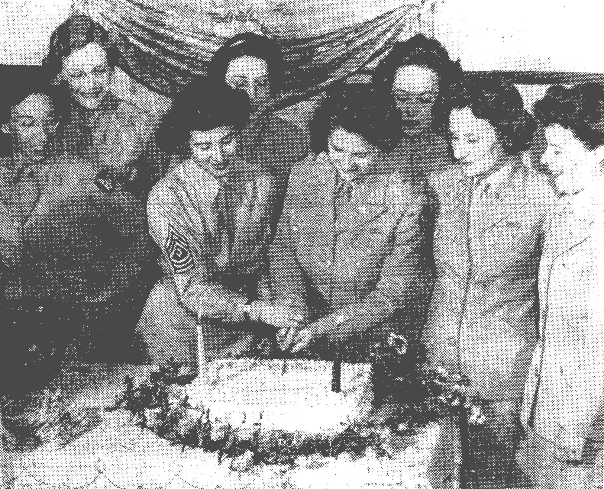 1944 - With two candles representing two years of service, Shaw Field WACs cut their birthday cake at the party held at the NCO Club. Front row from left are Pvt. Zimmerman, First Sgt. Doris Nevue, Lt. Virginia M. Kingsbury, WAC C.O. Lt. Helen Smith and Lt. Mary Edwards. Back row: Pvt. Florence Hahn, Pvt. Weinsberger and Pvt. Krause.