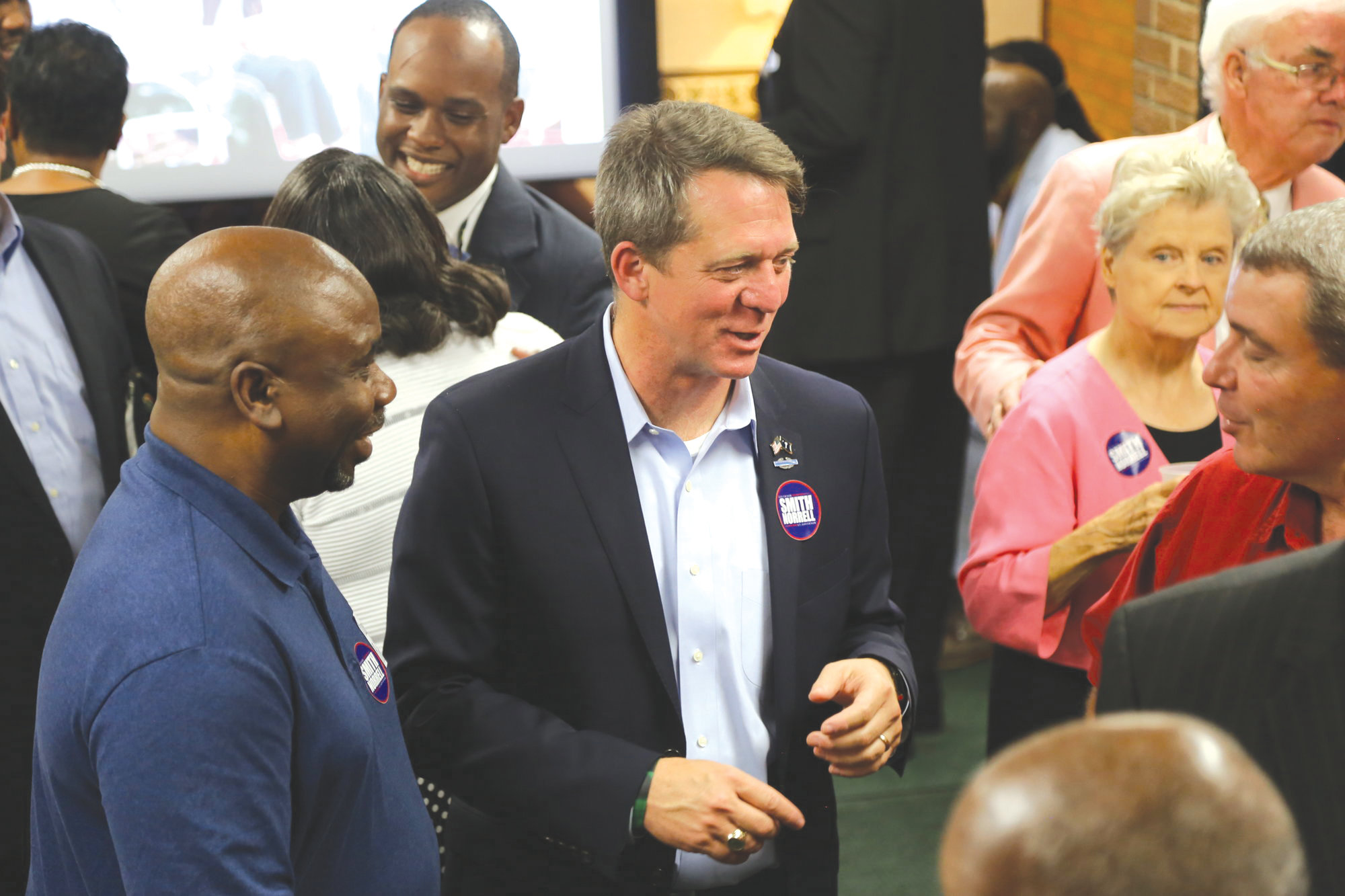In this file photo, state Rep. James Smith, the Democratic gubernatorial candidate on the Nov. 6 ballot in South Carolina, meets with voters in Sumter at a fundraiser on Oct. 15 for Sumter and Lee counties.