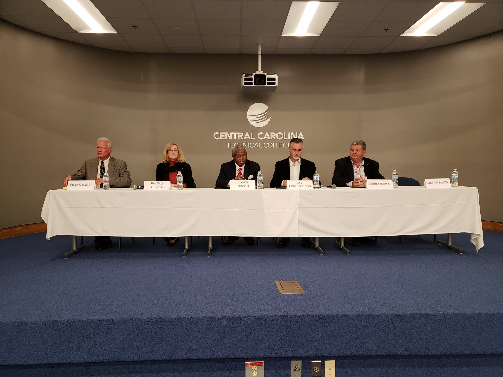 PHOTO PROVIDED  Five of the eight candidates running for two at-large seats on the Sumter School District Board of Trustees participated in a meet-the-candidates forum on Tuesday night on the main campus of Central Carolina Technical College.