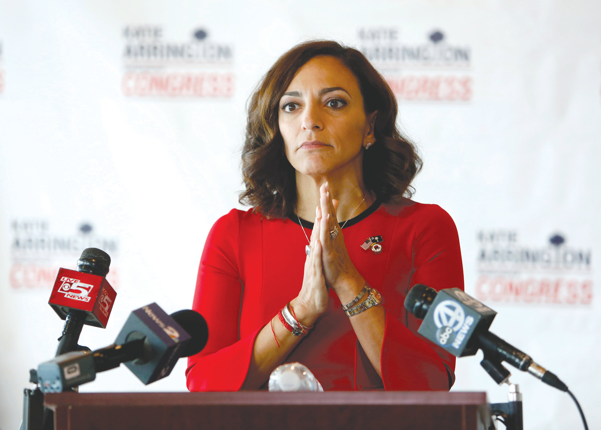 Republican nominee for Congress Katie Arrington concedes the race to Democrat Joe Cunningham during her press conference at the Staybridge Suites in Mt. Pleasant on Wednesday.